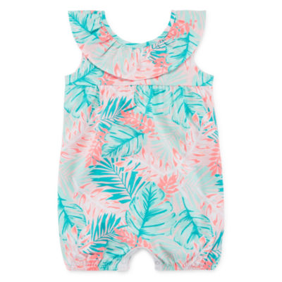 Okie Dokie Palm Print Creeper - Baby Girl NB-12M