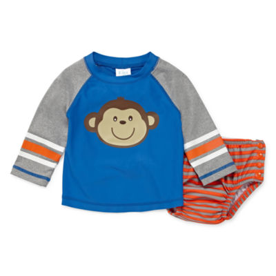 Kiko & Max Monkey Rash Guard & Trunk Set - Baby Boy 3-12M