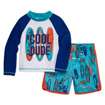 Cool Dude Rash Guard Set - Toddler Boys