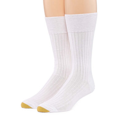 Gold Toe 2 Pair Comfort Non Elastic Rib Crew Socks - Extended