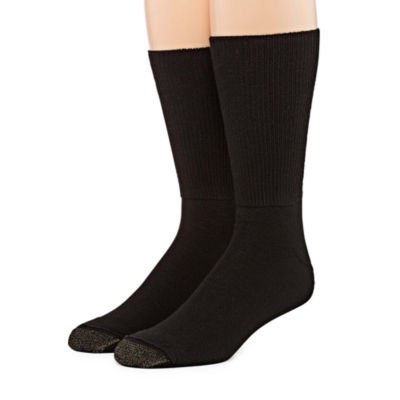 Gold Toe Men's 2 Pair Non-Binding Crew Socks-Extended Size