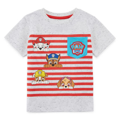 Boys Round Neck Short Sleeve Applique Paw Patrol Graphic T-Shirt-Toddler