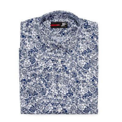 J.Ferrar Stretch Short Sleeve Broadcloth Pattern Dress Shirt - Slim
