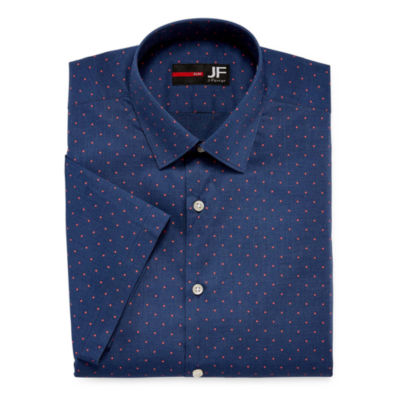 J.Ferrar Stretch Short Sleeve Broadcloth Pattern Dress Shirt - Slim