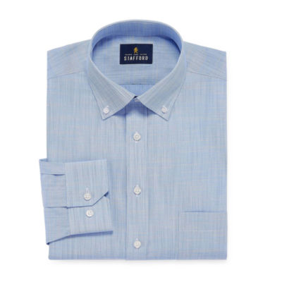 Stafford Slub Linen Look Long Sleeve Broadcloth Dress Shirt