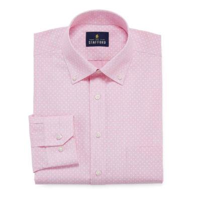 Stafford Slub Linen Look Big And Tall Long Sleeve Broadcloth Dress Shirt