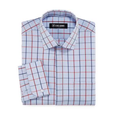 Stacy Adams Long Sleeve Woven Grid Dress Shirt