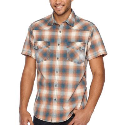 Decree Short Sleeve Plaid Button-Front Shirt