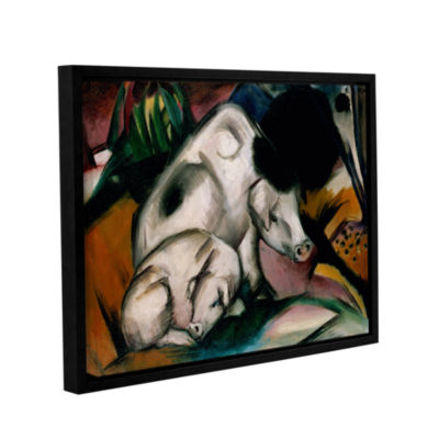 Brushstone Pigs Gallery Wrapped Floater-Framed Canvas Wall Art