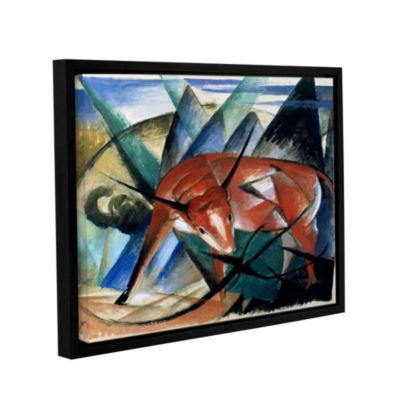 Brushstone Red Bull Gallery Wrapped Floater-FramedCanvas Wall Art