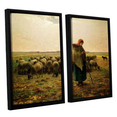 Brushstone Sheperdess with Her Flock 2-pc. Floater Framed Canvas Wall Art