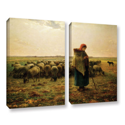 Brushstone Sheperdess with Her Flock 2-pc. GalleryWrapped Canvas Wall Art