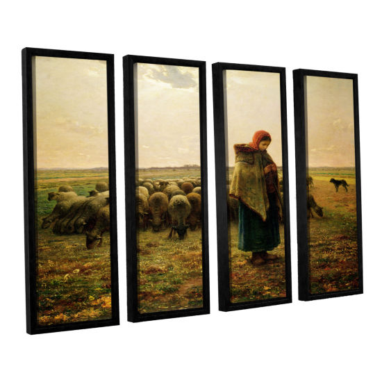 Brushstone Sheperdess with Her Flock 4-pc. FloaterFramed Canvas Wall Art