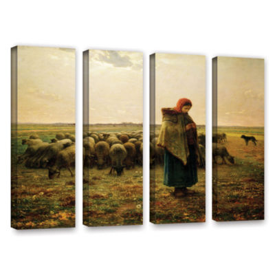 Brushstone Sheperdess with Her Flock 4-pc. GalleryWrapped Canvas Wall Art