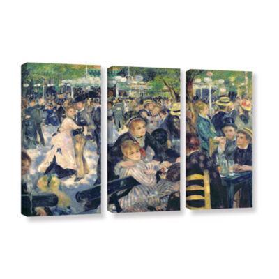 Brushstone Ball at The Moulin de la Galette 3-pc.Gallery Wrapped Canvas Wall Art