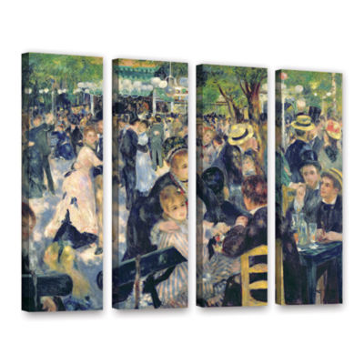 Brushstone Ball at The Moulin de la Galette 4-pc.Gallery Wrapped Canvas Wall Art