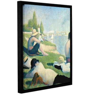 Brushstone Bathing At Asnieres Gallery Wrapped Floater-Framed Canvas Wall Art