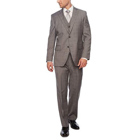 Stafford Gray Windowpane Classic Fit Suit Separates