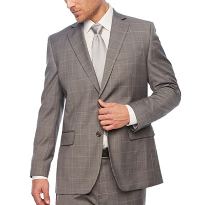 Stafford Gray Windowpane Classic Fit Stretch Suit Jacket