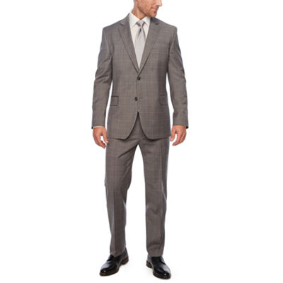 Stafford Travel Gray Windowpane Slim Fit Suit Separates