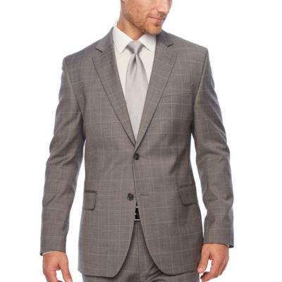 Stafford Gray Windowpane Slim Fit Suit Jacket