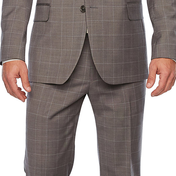 Stafford Gray Windowpane Slim Fit Suit Jacket