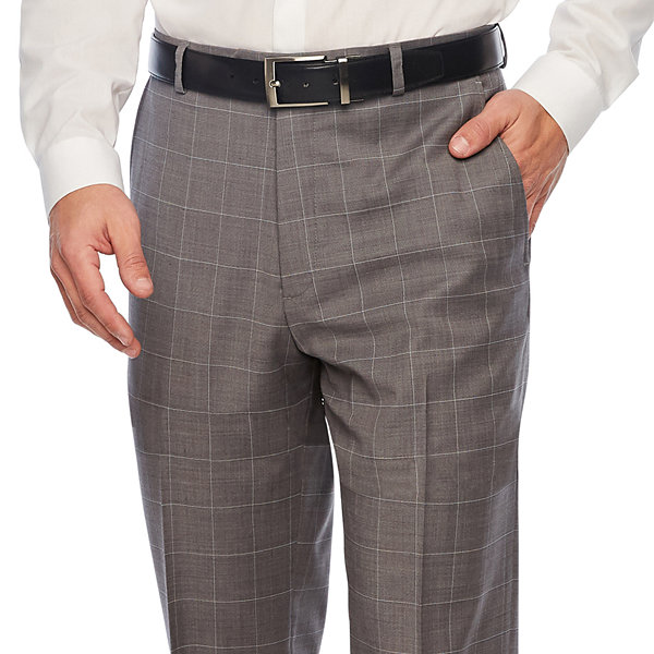 Stafford Gray Windowpane Classic Fit Suit Pants