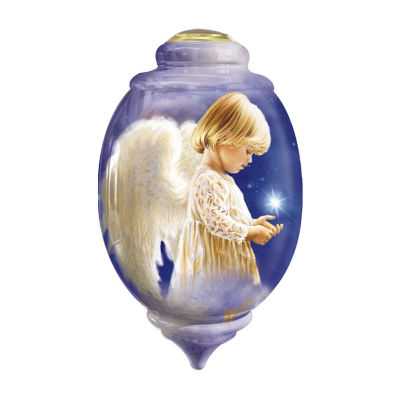 "Ne'Qwa Art  ""Wishing On A Star"" Artist DonaGelsinger"" Petite Trillion-Shaped Glass Ornament#7161115"