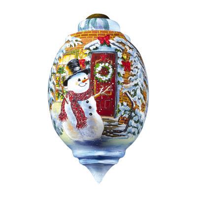 "Ne'Qwa Art  ""Snow Place Like Home""  Artist Dona Gelsinger  Trillion-Shaped Glass Ornament  #7161105"