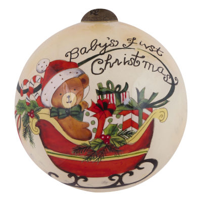 "Ne'Qwa Art  ""Baby's First Christmas"" Artist Susan Winget  Petite Round-Shaped Glass Ornament#7151177"