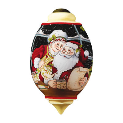 "Ne'Qwa Art  ""Santa And Mrs. Claus"" Artist Susan Winget  Trillion-Shaped Glass Ornament  #7161121"