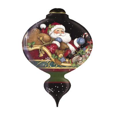 "Ne'Qwa Art  ""Believe"" Artist Susan Winget  Marquis-Shaped Glass Ornament  #7161123"