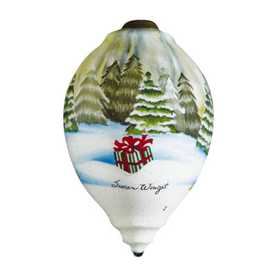 "Ne'Qwa Art  ""Christmas Delivery"" Artist Susan Winget  Princess-Shaped Glass Ornament  #7161126"