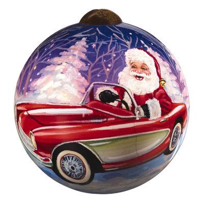 "Ne'Qwa Art  ""Santa's Sportscar"" Artist Dona Gelsinger  Petite Round-Shaped Glass Ornament  #7161103"