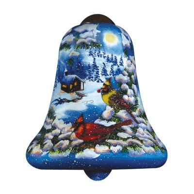 """Ne'Qwa Art  """"Cardinal Valley"""" Artist Dona Gelsinger  Petite Bell-Shaped Glass Ornament  #7161116"""