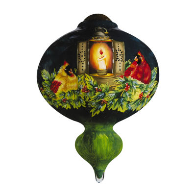 "Ne'Qwa Art  ""Cardinals In Candlelight"" Artist Betty Padden  Marquis-Shaped Glass Ornament  #7161167"