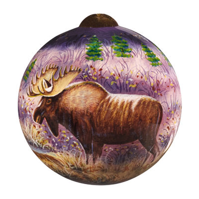 "Ne'Qwa Art  ""Moose"" Artist Cynthie Fisher  Petite Round-Shaped Glass Ornament  #7161133"