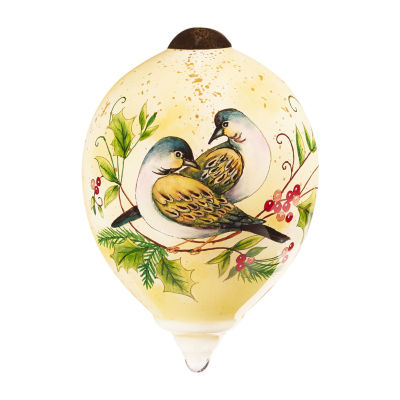 "Ne'Qwa Art  Twelve Days of Christmas  ""Two Turtle Doves"" Artist Susan Winget  Petite Princess-Shaped Glass Ornament  #7161141"