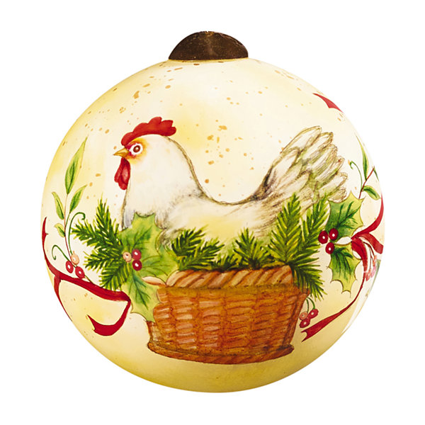"Ne'Qwa Art  Twelve Days of Christmas  ""Three French Hens"" Artist Susan Winget  Petite Round-Shaped Glass Ornament  #7161142"
