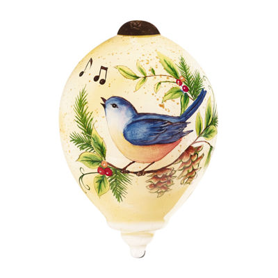 "Ne'Qwa Art  Twelve Days of Christmas  ""Four Calling Birds"" Artist Susan Winget  Petite Princess-Shaped Glass Ornament  #7161143"