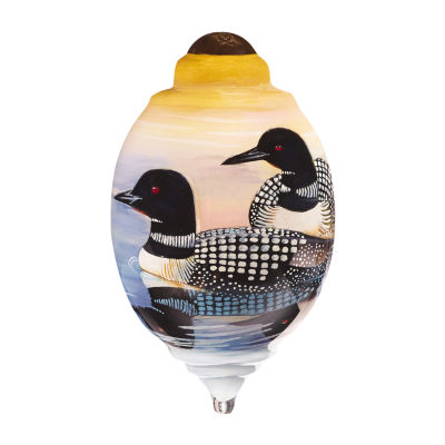 "Ne'Qwa Art  ""Loons"" Artist Cynthie Fisher  Petite Trillion-Shaped Glass Ornament  #7161146"
