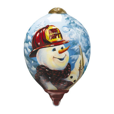 """Ne'Qwa Art  """"Firefighter Snowman"""" Artist Dona Gelsinger  Petite Princess-Shaped Glass Ornament#7161157"""