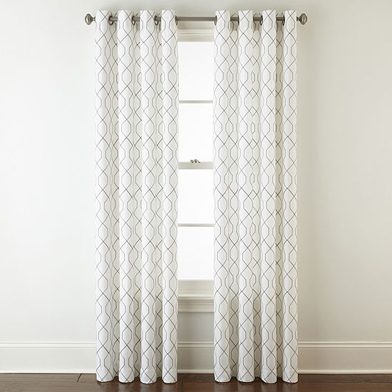 JCPenney Home Pasadena Embroidery Room Darkening Grommet-Top Curtain Panel