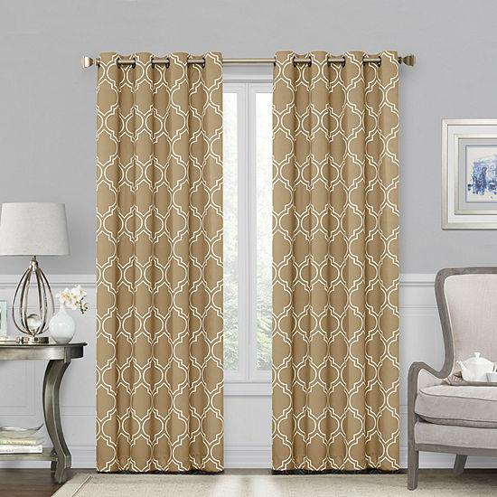 Sheridan Fret 100% Blackout Grommet-Top Curtain Panel