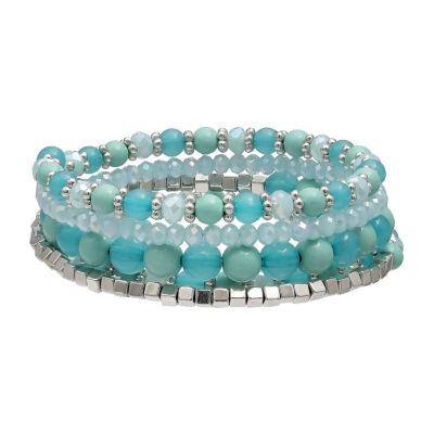 Mixit Tonal Bead Coil Womens Wrap Bracelet