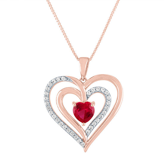 Womens Lab Created Red Ruby 14K Rose Gold Over Silver Heart Pendant Necklace