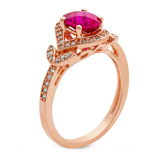 Womens Leaf Lab Created Red Ruby 14K Rose Gold Over Silver Cocktail Ring