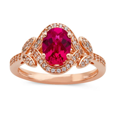 Womens Lab Created Red Ruby 14K Rose Gold Over Silver Cocktail Ring