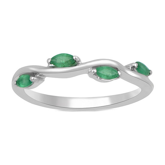 Womens Genuine Green 10K White Gold Cocktail Ring