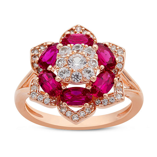 Womens Lab Created Red Ruby 14K Rose Gold Over Silver Flower Cocktail Ring